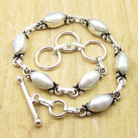 "June Birthstone Pearl Birthday Gift Ideas Bracelet 8.4"" Silver Plated Jewellery"