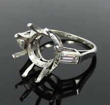 Estate 0.50ct Diamond & Platinum Semi Mount Ring for a 7.0ct oval or round stone
