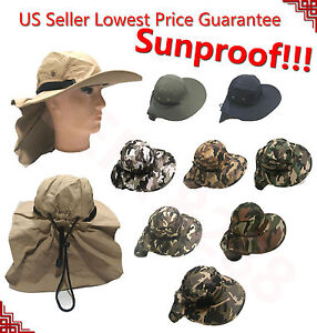 Outdoor Fishing Hiking Hunting Boonie Snap Hat Brim Cap Neck Cover Sun Flap LJP