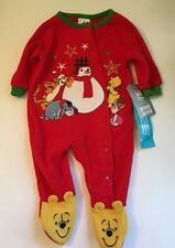 NWT DISNEY BABY Winnie the Pooh Plush Footed Sleeper Infant PJs 3 - 6 Months NEW