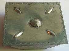 NAVAJO INDIAN VINTAGE STAMPED AND EMBOSSED DESIGNS ALUMINUM LARGE BOX