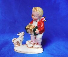 Antique Germany numbered Porcelain white dog spitz Samoyed boy playing music *