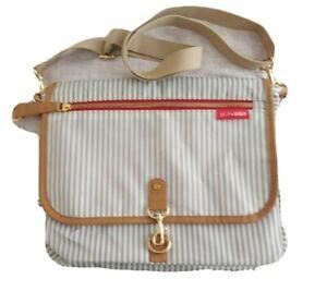 Skip Hop Diaper Bag Striped Gray & White w Adj Strap Small 2 Bottle Size