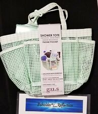 NEW G.U.S. Mesh Shower Tote in Mint Dot; Water Resistant; Phone Pocket