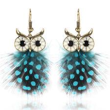 Blue Bird Hook Drop Dangle Owl Feather Ear Stud Earrings Handmade Jewelry