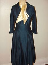 VINTAGE 50s HANDMADE*DARK BLUE IVORY SCARF NEW LOOK CIRCLE SKIRT DRESS BOW*S/M
