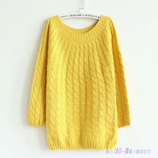 Ladies Womens OVERSIZED KNITTED JUMPER Chunky Thicken Wool Baggy Sweater UK 8-18