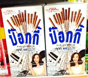 10 x 45g.GLICO POCKY COOKIES & CREAM TASTE CHOCOLATE BISCUIT STICK COATED SNACK