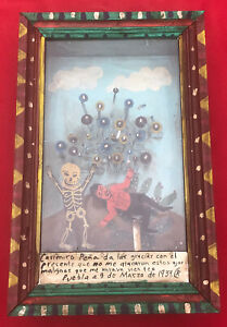 Mexican Folk Art Magnificent Skeleton & Bouncing Evil Eyes 3D Retablo Box Shrine