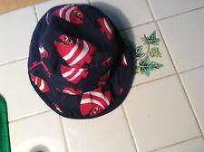 BABY BOYS GYMBOREE 0-3 months reversible bucket hat NAVY AND REDFISH WITH STRAP