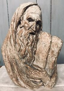 Signed Arnold Bergier Bust of Moses with Tablets 1967 Sculpture Ten Commandments