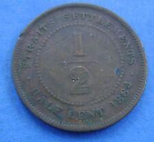Straits Settlements 1/2 cent  half cent 1884 KM# 8a