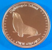 Nightingale Island 1 crown 2011 UNC Seal unusual coinage
