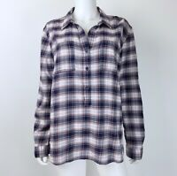 Beach Lunch Lounge Size Large Blouse Top Long Sleeve Blue Plaid Popover Shirt