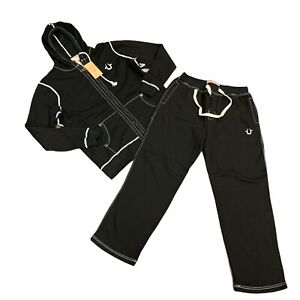 True Religion Sweatsuit Mens Size L Black Fleece Lined Hoodie/Pants Matching Set
