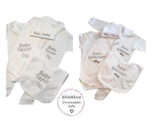 Personalised Sleepsuit Vest Hat Bib Unisex Embroidered Baby Boy Girl Gift Set