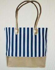 Crabtree & Evelyn VACATION VIBES NAUTICAL TOTE Bag X-Large Blue White Gold NWT