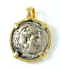 Alexander The Great Silver Tetradrachm Coin in 14K Gold Round Pendant 24 GRAMS