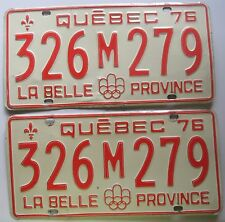 Quebec 1976 License Plate PAIR - NICE QUALITY # 326M279