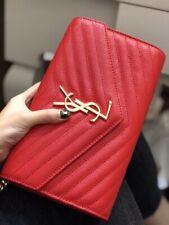 YSL Saint Laurent Chain Wallet Monogram Small Red Shoulder Bag Cross Body Bag