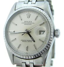 Rolex Datejust Men Stainless Steel Silver Dial Oval Link Jubilee Band Watch 1603