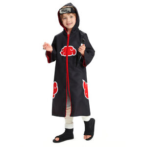 Kid's Naruto0 Akatsuki Cosplay Costume Hooded Zip Up Coat Halloween Outfit Gift