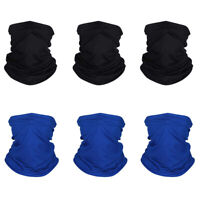 6PCS Summer Face Mask Gaiter Biker Scarf Tube Bandana Beanie Cover Cap Headwrap
