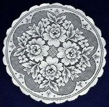 "TWO Beautiful Heritage Lace 17"" Round Victorian Rose White Doilies"