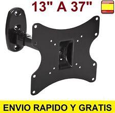 """SOPORTE DE PARED PARA TV LCD LED PLASMA MONITOR GIRATORIO 13"""" A 37"""" INCLINABLE"""