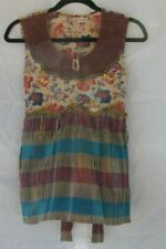 Bill Blass Womans Boho Multicolored Pullover Beaded Sequin top Tie Back Size M