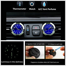 Car Clock Watch + Thermometer A/C Vent Clip Perfume Refill Storage Air Freshener