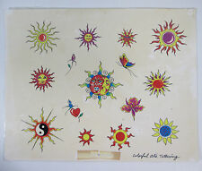 Tattoo Flash Sheet Suns and Stars Parlor Used Colorful Al Sujohn of San Rafael
