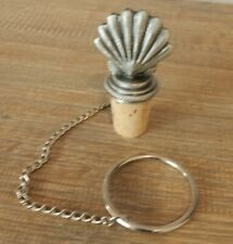 METAL CLAM WITH CHAIN WINE BOTTLE STOPPER NAUTICAL SEA THEME