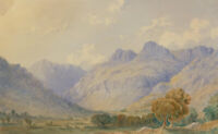 William Taylor Longmire (1841-1914) - Signed 1872 Watercolour, Langdale Pikes