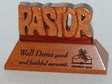 PASTOR Mahogany Wood Carved Desk Table Plaque Christian Religious Church Decor