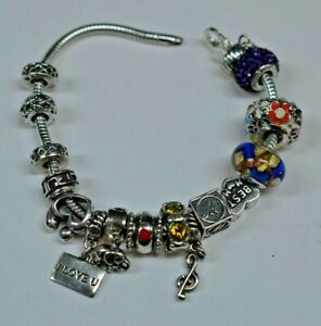 Sterling Silver Michael Anthony Charm Bracelet 17 Charms 7.5""