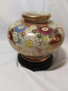 Antique Japan Exquisite Museum Quality Satsuma Vase Urm on stand H15cm