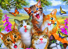 Funny Cats Mosaic Diamond Painting Kit 30 x 40 cm like cross stitch