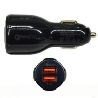 Black Fast Car Charger Qualcomm QC3.0 Certified Quick 2-USB Port Charge Dual 36W