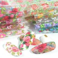 10 Sheets Flower Pattern Nail Foil Transfer Stickers Decals Nail Art Decoration