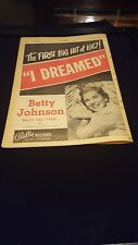 Betty Johnson I Dreamed Rare Original Bally Records Promo Poster Ad Framed!