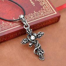 Fashion Unisex Gothic Punk Skull Snake Cross Necklace Pendant Jewelry Chain Gift