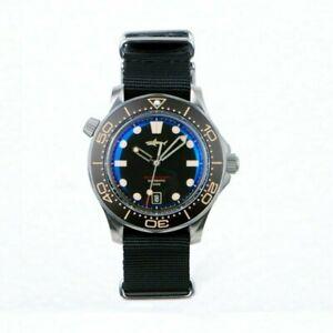 Sharkey Titanium Sea Ghost Watch Seiko SII NH36A Movement Sapphire C3 Nylon