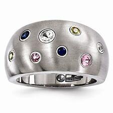 Edward Mirell® Sapphire Titanium Ring Brushed Finish Colored Sapphires EMR254