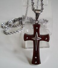 Men's  Stainless Steel/Wood  CROSS Religious  Fashion Pendant With Chain