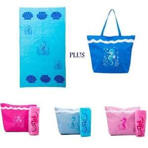 Beach Bag Womens PLUS Beach Towel 2 PCE Set Large Canvas Tote Bags Cotton Towel
