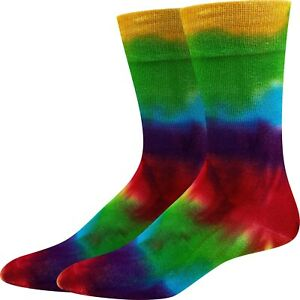 Rainbow Tie Dye Sock Harbor Unisex M/L Bamboo Crew Socks New Novelty Fashion
