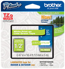 "Brother 1/2"" (12mm) White on Lime Green P-touch Tape for PT1290, PT-1290 Printer"