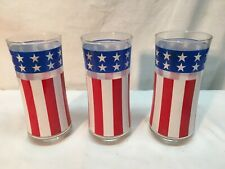 3  American Flag Drinking Glass Tumbler 1976 Stars & Stripes Red White & Blue