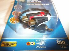 "Monster RCA Adapter Cable 6"" Long 140292-00 Rca Male Plug To 2-Rca Female NEW"